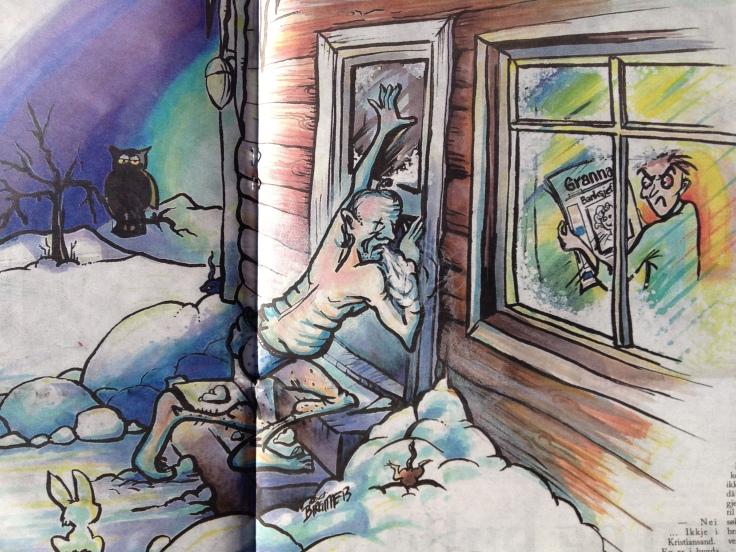 Flott illustrasjon av Birgitte B. i Lokalavisa Grannar